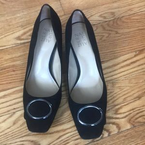 Naturalizer black suede heels worn once